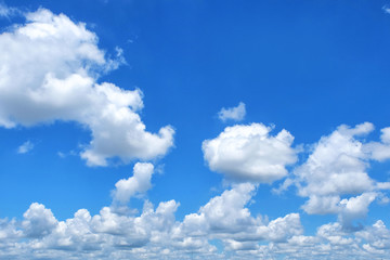 Clouds with blue sky close up and detail
