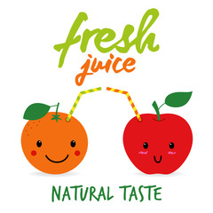 Cute orange and apple as beverage with straw. Fresh juice concept illustration vector.