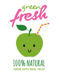 Cute green apple as a drink with a straw. Fresh apple juice concept illustration vector.