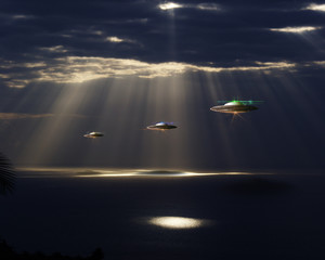 Spaceships flying on the earth