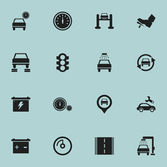 Set Of 16 Editable Transport Icons. Includes Symbols Such As Automobile, Accumulator, Treadle And More. Can Be Used For Web, Mobile, UI And Infographic Design.