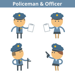 Occupations cartoon character set: policeman, cop and officer. Vector flat security, law, guard professions userpic and icons. Collection for profiles, web design, social networks and infographics.