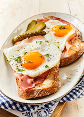 Savory country breakfast of eggs and ham