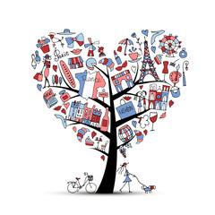 I love France, art tree. Sketch for your design