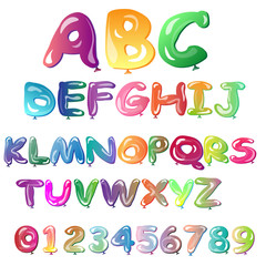 Alphabet in the form of balloons. Easy editable vector file. Perfect letters design for festival poster.