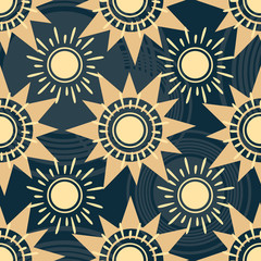 Geometric sun pattern. Tribal texture seamless background. Creative vector sun backdrop. Geometric pattern design for web, mobile, print and textile.