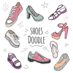 Boots colorful doodle collection. Set of doodle shoes with sneakers, loafers, flip flops and sandals.Vector pastel colors illustration.