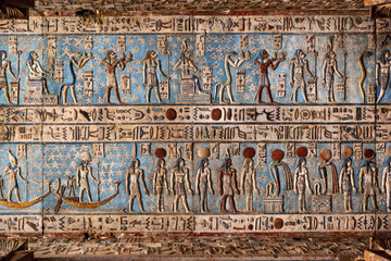 Tuinposter Egypte Hieroglyphic carvings in ancient egyptian temple