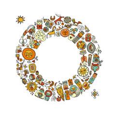 Ethnic circle frame, sketch for your design