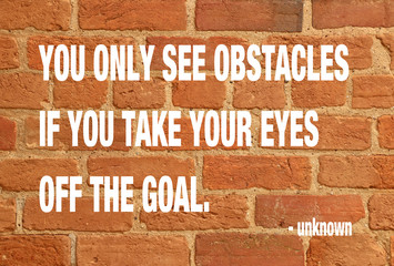 red brick texture background with obstacles and goal proverb