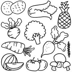 Set of various vegetables doodles