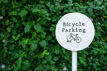 Bicycle parking sign in park
