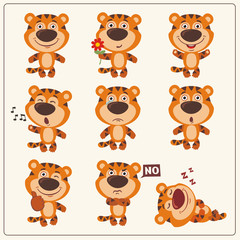 Funny little tiger set in different poses. Collection isolated tiger in cartoon style.