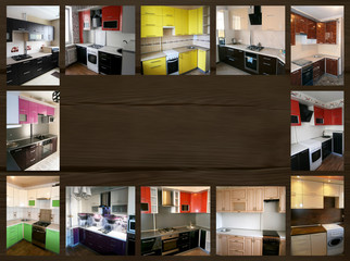 collage on the theme of Furniture. Kitchen
