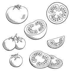 Tomato graphic black white isolated sketch illustration vector