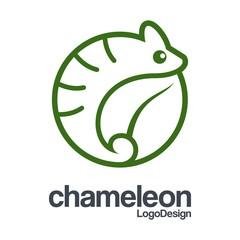Chameleon Logo, Abstract Logo of Chameleon, Circle Logo Outline of Chameleon