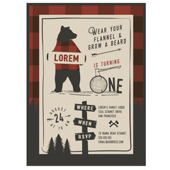 Vintage little Lumberjack party invitation design template. Trendy Lumberjack pattern included
