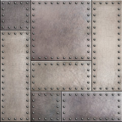 Wall Mural - Rusty metal plates with rivets seamless background or texture
