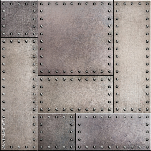 """Rusty metal plates with rivets seamless background or ..."