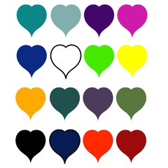 Set hearts of all  colors of rainbow