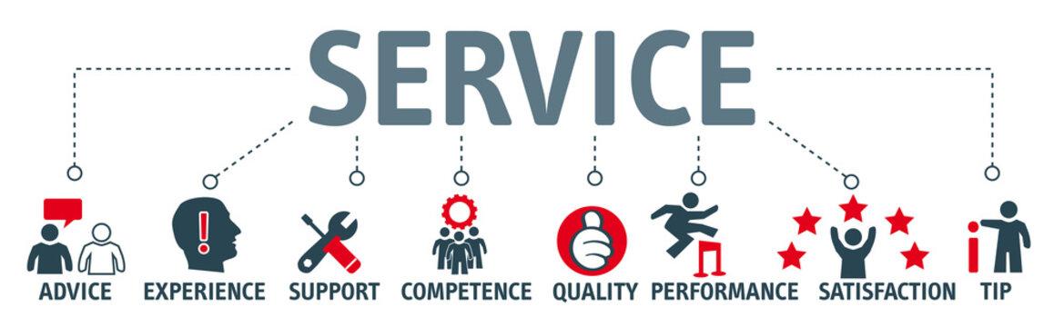 Banner Service concept english keywords