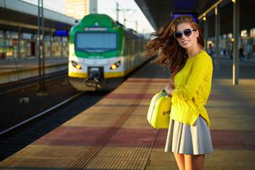 A shot of a beautiful young Caucasian woman traveling