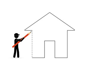 man drawing house plan