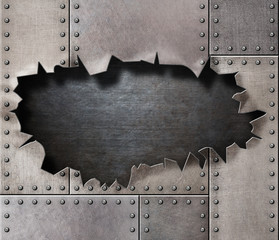 damaged metal armor with torn hole background