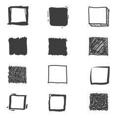 Set of cute hand drawn squares. Doodle style sketching. Vector illustration.