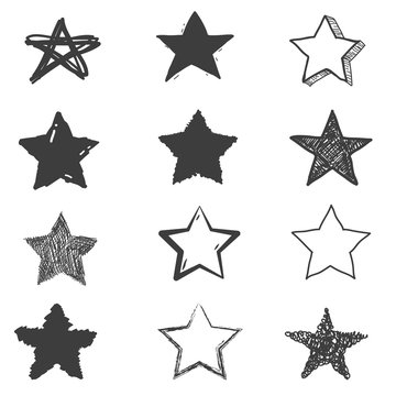Set of cute hand drawn star. Doodle style sketching. Vector illustration.