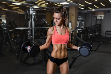 Fitness girl sexy. Attractive young woman working out with Dumbbells