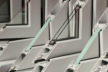 PVC window profiles on display