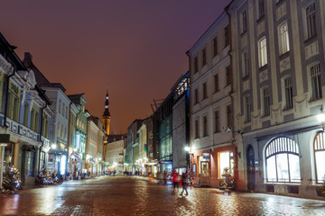 night view of the street, Tallinn