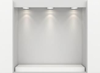 Empty illumination light showcase. Mock up. 3d rendering