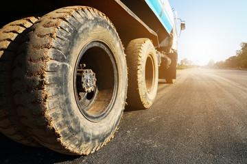 constructional truck on asphalt road