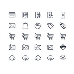 Set of Business and Finance Related Vector Line Icons. Contains such Icons as Shopping Basket, Money, Money Case, Wallet, Price Tag, Shopping Cart, Credit Card and more. Fully Editable. Neatly Done.