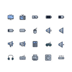 Set of Electronics Related Vector Colored Icons. Contains such Icons as TV, Headphones, Keyboard, Battery, Printer, Wireless, Mouse and more. Fully Editable. Neatly Done.