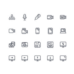 Set of Electronics Related Vector Colored Icons. Contains such Icons as Microphone, Camera, Computer, Monitor, Phone, Floppy Disk, Laptop and more. Fully Editable. Neatly Done.