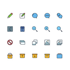 Set of General Related Vector Colored Icons. Contains such Icons as Pencil, Box, Download, Upload, Screen, Picture, Settings, Speech Bubble and more. Fully Editable. Neatly Done.
