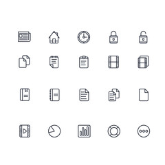 Set of General Related Vector Line Icons. Contains such Icons as Home, Newspaper, Computer, Monitor, Phone, Floppy Disk, Laptop and more. Fully Editable. Neatly Done.