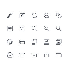 Set of General Related Vector Line Icons. Contains such Icons as Pencil, Box, Download, Upload, Phone, Floppy Disk, Laptop and more. Fully Editable. Neatly Done.