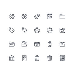 Set of General Related Vector Colored Icons. Contains such Icons as Gear, Folder, Calendar, Briefcase, Price Tag, Bookmark, Building and more. Fully Editable. Neatly Done.