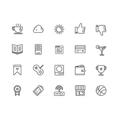 Set of General Related Vector Line Icons. Contains such Icons as Case, Battery, Wireless, Like, Wallet, Sun, Credit Card and more. Fully Editable. Neatly Done.