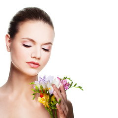 Spa Woman. Cute Face and Flowers Isolated on White