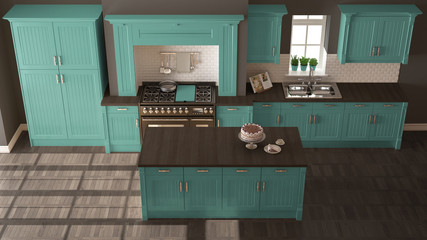 Classic kitchen, scandinavian minimal interior design with wooden and turquoise details