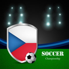 Illustration of Czech Republic flag participating in soccer tournament