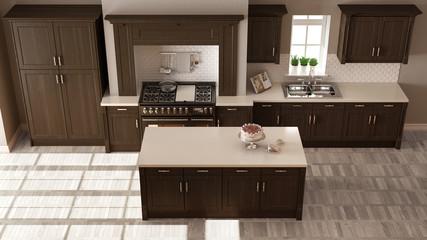 Classic kitchen, elegant interior design with wooden details, top view