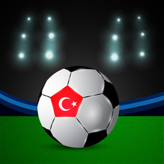 Illustration of Turkey flag participating in soccer tournament