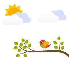 cartoon bird on a branch vector