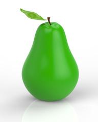 Zielona gruszka na białym tle